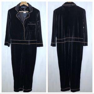 Zara Black Velvet Pajama Style Trimmed Jumpsuit S